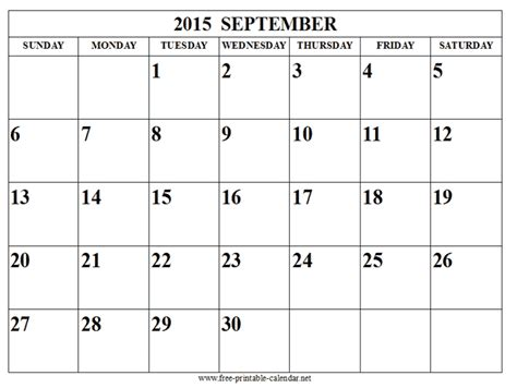 Blank Calendar For September 2015 September 2015 Calendar Tips September