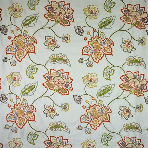 designer floral vines embroidered silk fabric 10 yards spice etsy