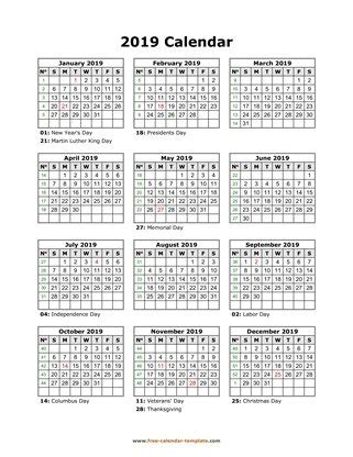 yearly calendar 2019 printable with federal holidays