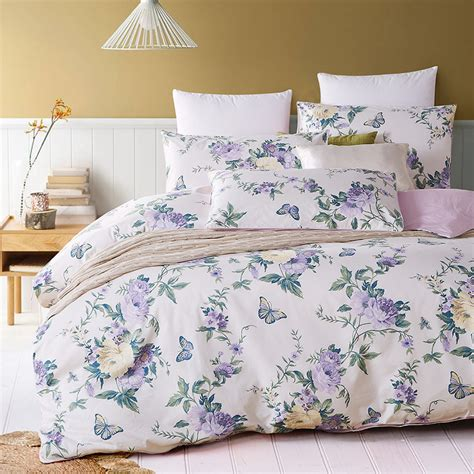 egyptian bed set 6pc set 100 egyptian cotton purple floral butterfly