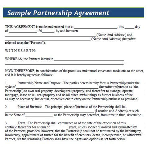8 Sle Partnership Agreements Sle Templates Simple General Partnership Agreement Template