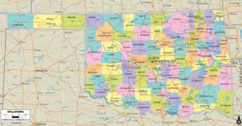 Oklahoma State Map With Cities by Political Map Of Oklahoma Ezilon Maps