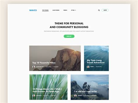 blog theme like medium waves personal and community blogging theme by darinka