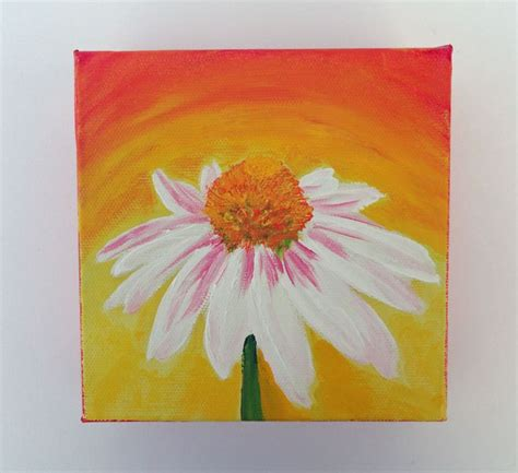 acrylic painting ideas flowers acrylic painting colorful small canvas flower by