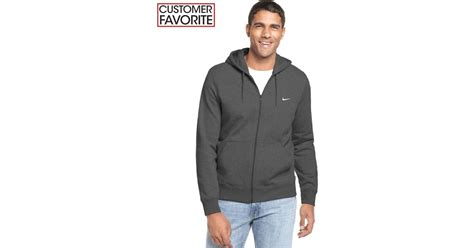 jaket jacket nike sweater hoodie basic classic zipper original bla lyst nike s classic fleece zip hoodie in gray