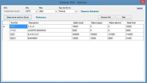 layout xml sat generar xml de contabilidad electronica desde excel