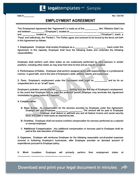 terms of employment contract template employee contract template template business