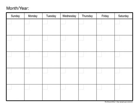 Free Blank Monthly Calendar Template blank calendar pdf blank calendar printable