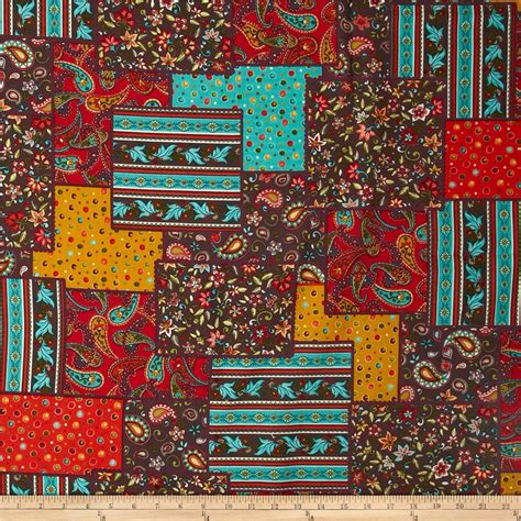 Cheap Patchwork Fabric - paisley jacobean patchwork mutli discount designer
