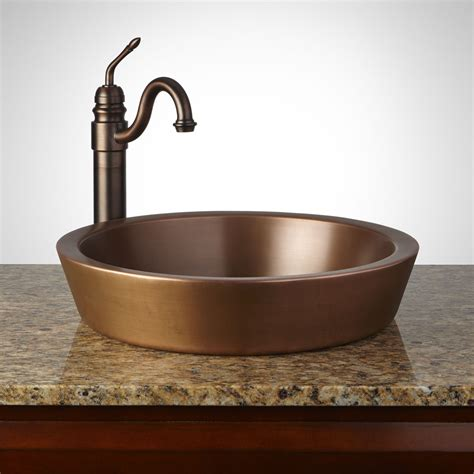 Recessed Sinks by Semi Recessed Copper Sink Smooth Antique Copper Patina