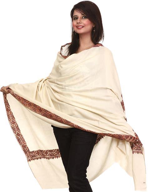 ivory pashmina shawl from kashmir with embroidered meenakari border