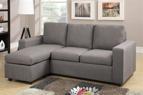 poundex sectional sofa modern gray reversible linen style sectional by poundex