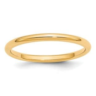 2mm comfort fit plain wedding band in 14k yellow gold