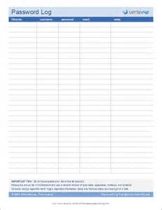 password spreadsheet template password log template