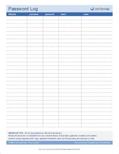 password list printable template password log template