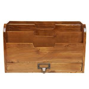 Mail Organizer Desk 3 Tier Country Rustic Vintage Office Desk File Organizer Mail Sorter W Storage Drawer Mygift