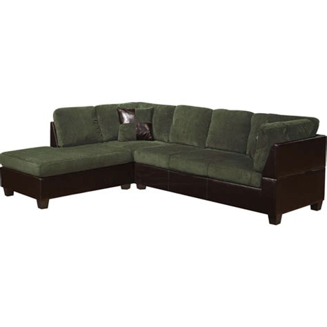 Corduroy Sectional by Connell Collection Corduroy And Faux Leather Sectional