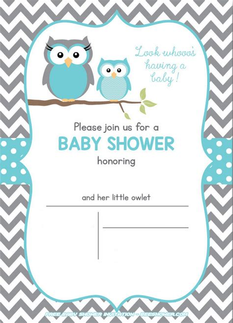 Free Printable Owl Baby Shower Invitations by Free Owl Baby Shower Invitations Free Printable Baby