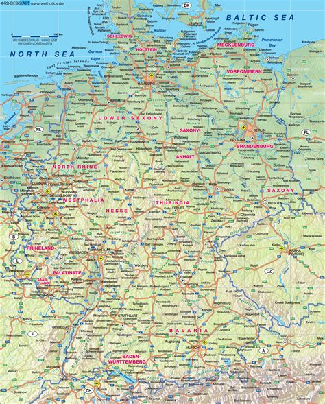 road map of germany map of germany physical general map region of the