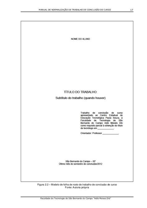 Abnt Tcc Como Requisito Parcial Para Obtenção Do Grau Mba by Novo Manual Tcc Vers 227 O 1 2012