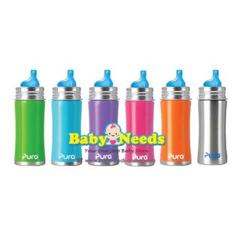 Pura Stainless Steel Infant Bottle 11oz325ml With Xl Sipper Mura pura 11 oz sippy stainless steel bottle xl sipper