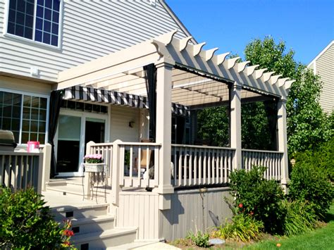 Pergola with canopy and mosquito curtains outdoor living with archadeck of chicagoland