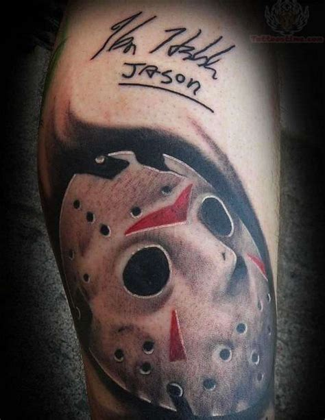jason tattoo jason mask grey ink on leg