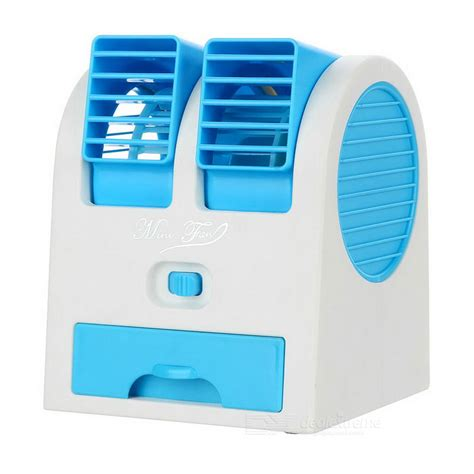mini usb bladeless cooling desk fan air conditioner blue