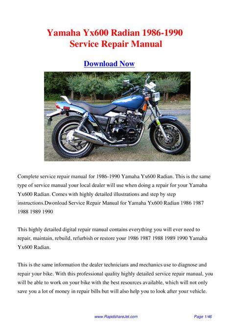Yamaha Yx600 Radian 1986 1990 Service Repair Manual By