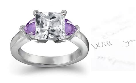 purple sapphire hearts and princess cut engagement