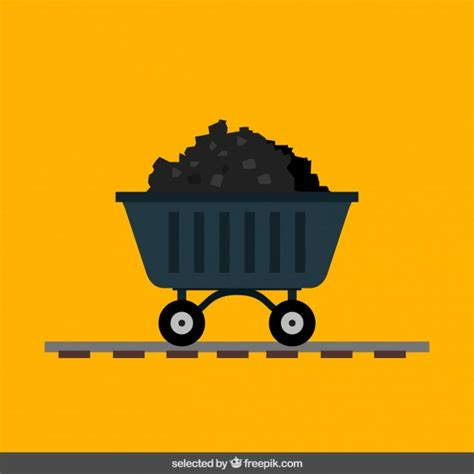 design mine graphics trolley of coal mine in flat design vector free download