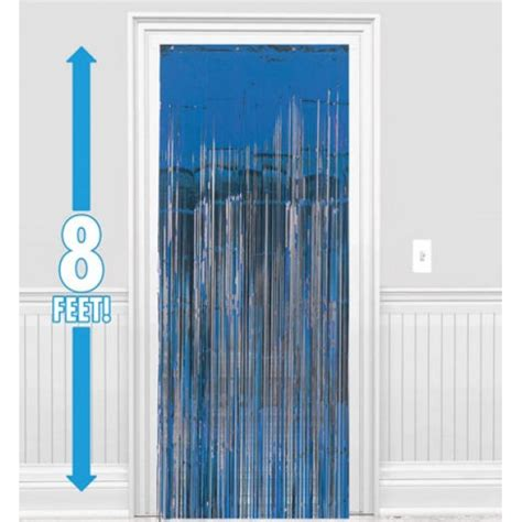 Metallic Blue Curtains Amscan Dazzling Foil Metallic Curtain Blue 8 Ft X 3 Ft From Category Decoration Item