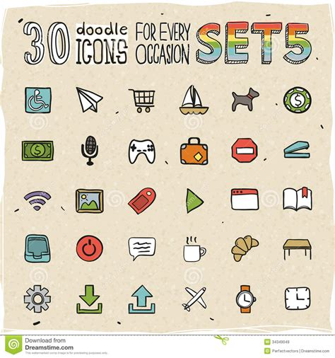 doodle icons free vector 30 colorful doodle icons set 5 royalty free stock images
