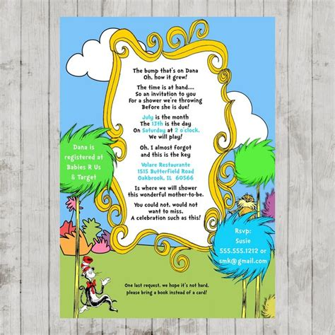 printable lorax invitations 17 best dr seuss baby shower images on pinterest shower