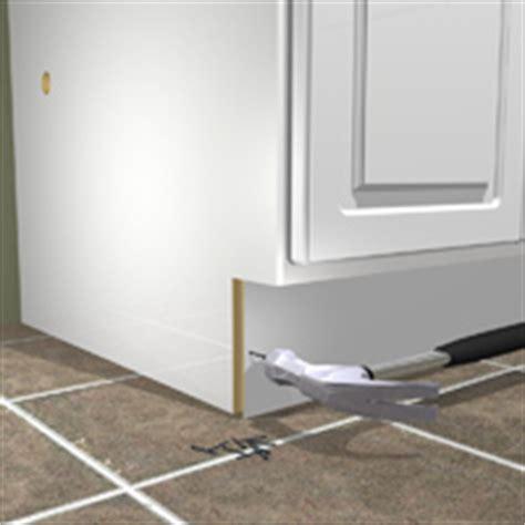 How To Install Toe Kicks On Kitchen Cabinets by Install Pre Fabricated Kitchen Cabinets 1 Rona