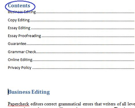 How To Write A Table Of Contents by Microsoft Table Of Contents Word 2010