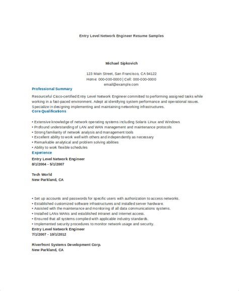 network engineer resume sles 9 engineering resume templates pdf doc free
