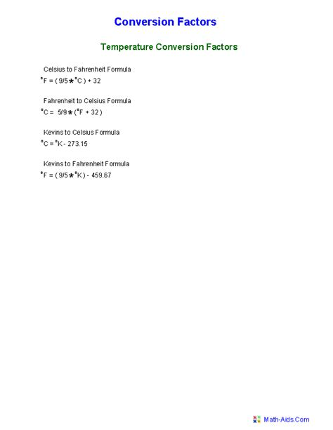 Temperature Conversion Worksheet Answers by Measurement Worksheets Dynamically Created Measurement