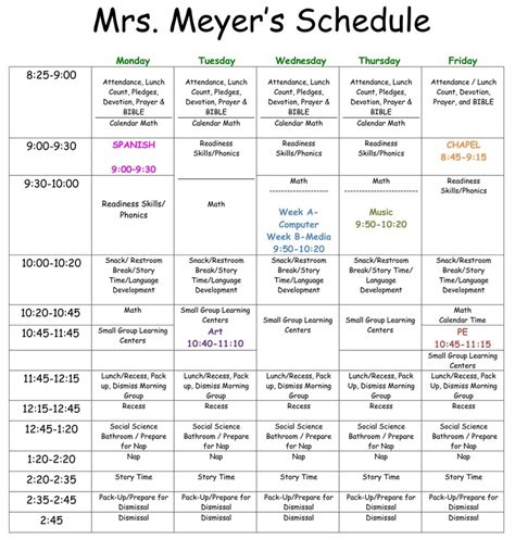 preschool classroom schedule template ideal weekly schedule calendar template 2016