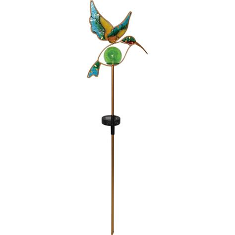 Moonrays 91444 Solar Powered Glass Hummingbird Stake Light Moonray Solar Lights