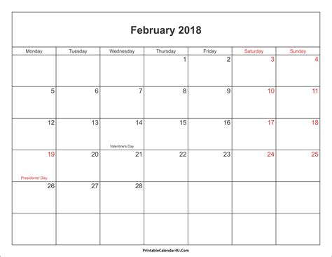 printable planner 2018 uk free printable february 2018 calendar with holidays
