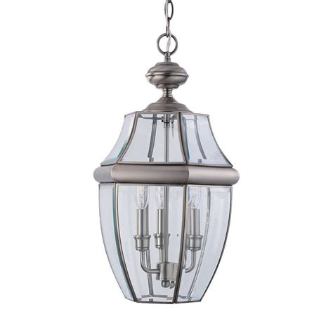 pendant porch lights shop sea gull lighting lancaster 20 75 in antique brushed nickel outdoor pendant light at lowes