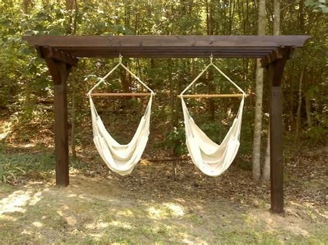 hammock chair stand outdoors the two