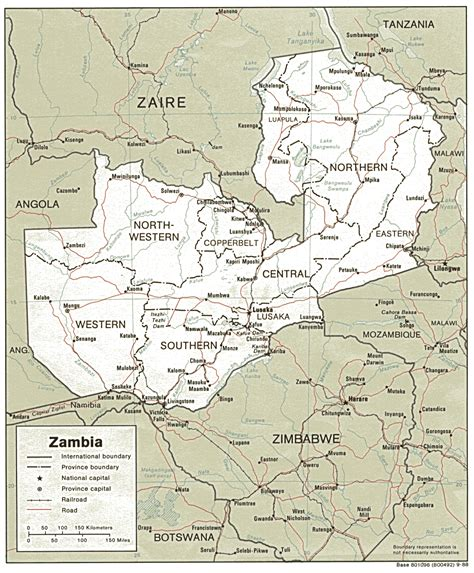 printable map of zambia detailed political and administrative map of zambia