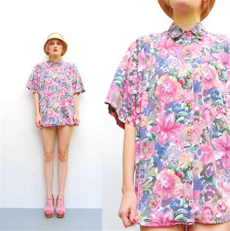 Blouse Floral Pastel Celana 90s floral print shirt oversized button up shirt slouchy pastel blouse