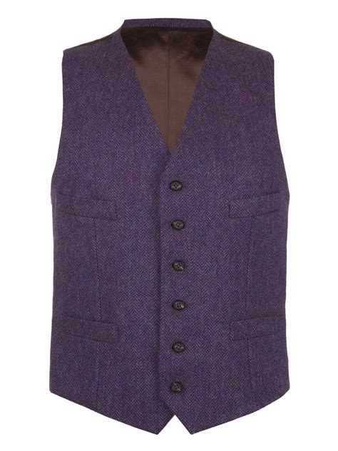 tweed color purple herringbone tweed waistcoat