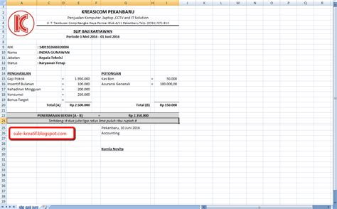 slip gaji karyawan pabrik contoh slip gaji karyawan terbaru 2016 tutorial komputer