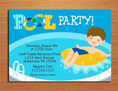 attractive printable pool party invitations to make party invites