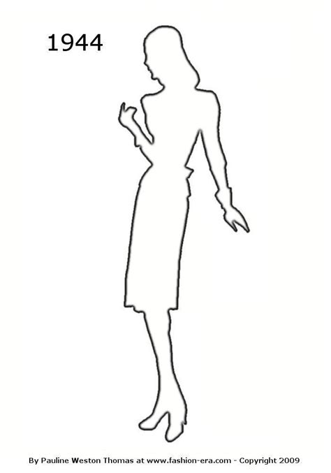 Fashion Outline by Costume History Silhouette Outlines 1940s Free Drawings 1940 1950