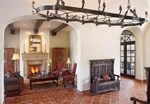 terracotta floor tile living room mediterranean with arch